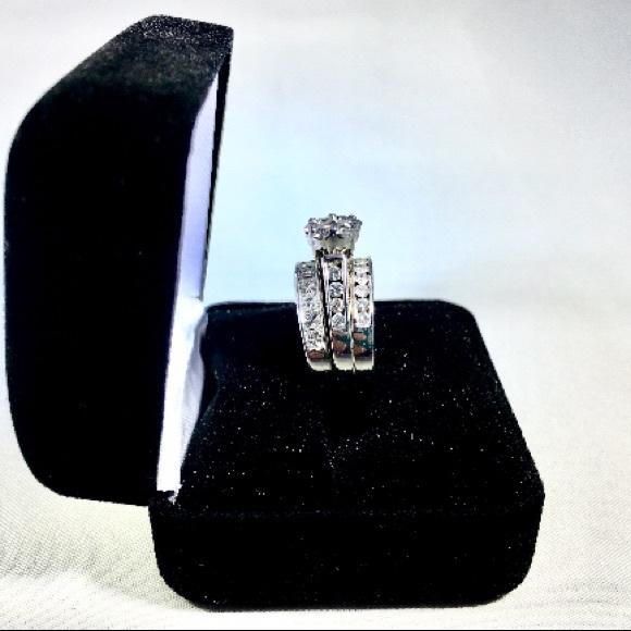 14kt 3 Ring Diamond White Gold Wedding Ring Set